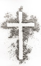 Christian cross made of ash Royalty Free Stock Photo