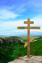 Christian cross at mountain top Royalty Free Stock Photo
