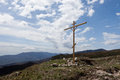Christian cross in the mountains Royalty Free Stock Photo