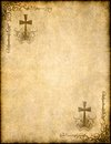 Christian cross on old paper or parchment Royalty Free Stock Photo