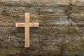 Christian cross old wood on wooden  background christianity Royalty Free Stock Photo
