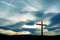 Christian cross over beautiful sky Royalty Free Stock Photo