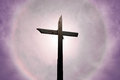 Christian cross over beautiful sunny sky Royalty Free Stock Photo