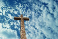 Christian Cross over bright sky Royalty Free Stock Photo