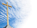 Christian cross with sky background religion template or frame Royalty Free Stock Photo