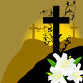 Christian cross and three white lily