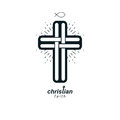 Christian Cross true belief vector religion symbol, Christianity