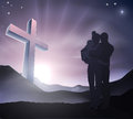 Christian easter family concept a loving with a cross in a mountain landscape with sunrise over mountains lifestyle or Stock Photos