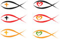 Christian fish symbols set illustration Royalty Free Stock Photography