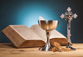 Christian holy communion composition on wooden table Stock Images