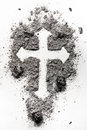Christian holy cross symbol made in ash, dust Royalty Free Stock Photo