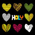 Christian inscriptions and hearts drawn by hand. Biblical vector illustrations and icons