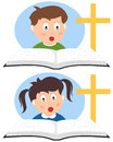 Christian Kids Reading a Book Royalty Free Stock Photo