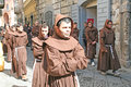 Christian monks during the holy easter procession at sarno in italy Royalty Free Stock Images