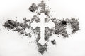 Christian orthodox cross symbol made in grey ash, dust Royalty Free Stock Photo