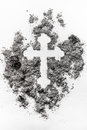 Christian orthodox crucifix sign made in grey ash, dust, dirt Royalty Free Stock Photo