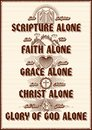 Christian poster. Five points of the foundation of Protestant theology `Five solas`. Royalty Free Stock Photo