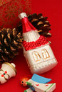 Christian religious christmas ornaments themed on red background Stock Photography