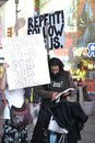 Christian religious protestors nyc time square preach from the bible in got jesus Royalty Free Stock Images