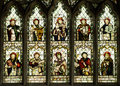 Christian saints stained glass window depicting ten st peters church cound shropshire england Stock Photos