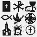 Christian symbols icons set