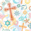 Christian Symbols Seamless Pattern Stock Photo