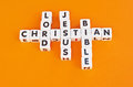 Christian text in crossword style linking christianity with the lord jesus christ and the bible gold background Royalty Free Stock Photography
