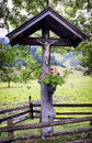 Christian wayside shrine typical old at a country road Royalty Free Stock Image