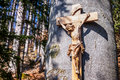 Christian wayside shrine typical old at a country road Royalty Free Stock Photo