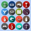 Christianity icons set flat traditional religious symbols with cross bible goblet isolated vector illustration Stock Photography