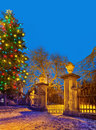 Christma tree with old gateway  , Town of postoloprty, Czech Rep Royalty Free Stock Photo