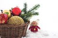 Christmas сomposition with christmas decorations in basket and branch of tree on white background Stock Images