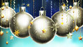 Christmas abstract blue background with big silver decorated balls at the foreground. Royalty Free Stock Photo