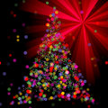 Christmas abstract bokeh tree on light ray background red Stock Images