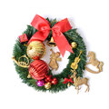 Christmas accessory wreath and for decorate tree on white background Royalty Free Stock Photo