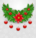 Christmas adornment with balls holly berry pine and poinsettia illustration Royalty Free Stock Image