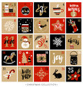 Christmas advent calendar. Hand drawn design elements Royalty Free Stock Photo