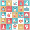 Christmas Advent calendar with hand drawn elements. Xmas Poster. Royalty Free Stock Photo