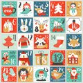 Christmas Advent calendar with hand drawn elements. Xmas Poster. Vector Royalty Free Stock Photo