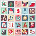 Christmas advent calendar. Winter festive poster with rabbit, bear and santa, xmas decoration and numbers, december Royalty Free Stock Photo