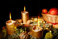 Christmas advent wreath with burning candles Royalty Free Stock Photo