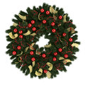 Christmas advent wreath isolated on white illustration of backround Stock Photography