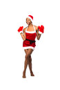 Christmas afro american woman wearing a santa hat smiling isolated Stock Photography