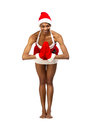 Christmas afro american woman wearing a santa hat smiling isolated Royalty Free Stock Photography