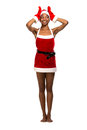 Christmas afro american woman wearing a santa hat smiling isolated Stock Image