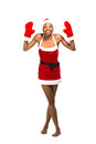Christmas afro american woman wearing a santa hat smiling isolated Stock Photos