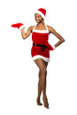 Christmas afro american woman wearing a santa hat smiling isolated Stock Photo