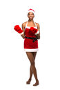Christmas afro american woman wearing a santa hat smiling isolated Royalty Free Stock Images