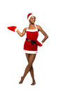 Christmas afro american woman wearing a santa hat smiling isolated Stock Images