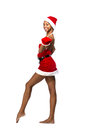 Christmas afro american woman wearing a santa hat smiling isolated Royalty Free Stock Photo
